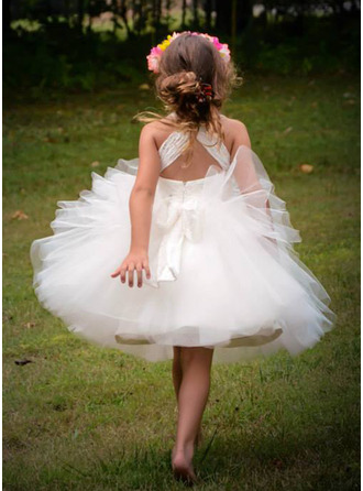 Ball Gown Knee-length Flower Girl Dress - Tulle Sleeveless Straps