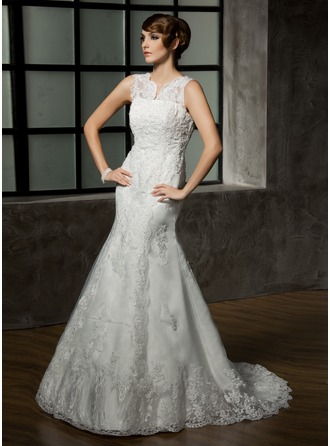 Trumpet/Mermaid V-neck Court Train Satin Tulle Wedding Dress With Lace Beading
