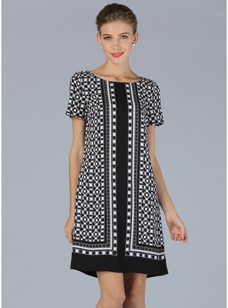 Polyester/Linen With Print Knee Length Dress