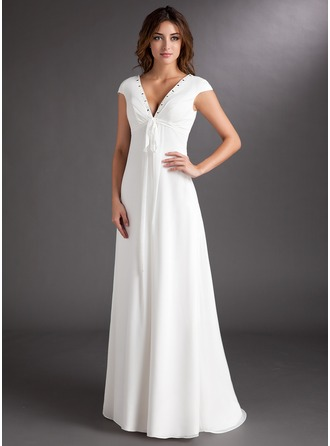 A-Line/Princess V-neck Sweep Train Chiffon Wedding Dress With Ruffle Beading