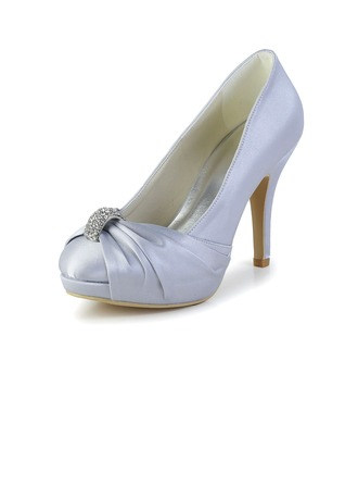 Women's Satin Cone Heel Closed Toe Platform Pumps With Rhinestone Ruched