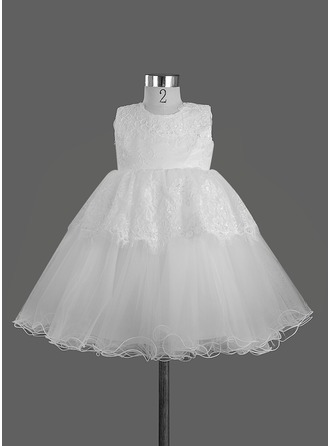A-Line/Princess Scoop Neck Knee-Length Satin Flower Girl Dress With Bow(s)