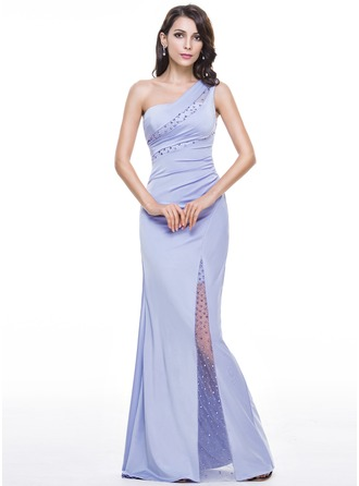Trumpet/Mermaid One-Shoulder Floor-Length Tulle Jersey Evening Dress With Ruffle Beading