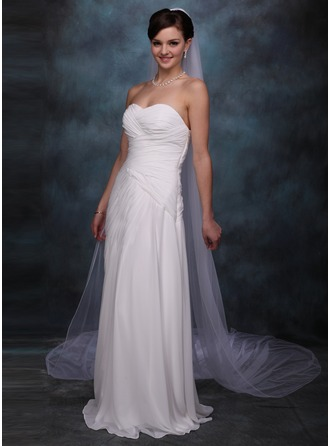One-tier Cathedral Bridal Veils With Pencil Edge