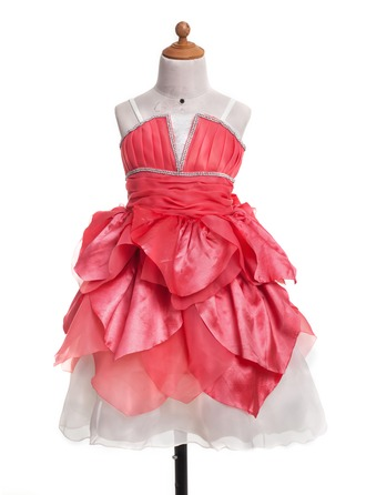 A-Line/Princess Tea-Length Satin Flower Girl Dress With Ruffle Cascading Ruffles