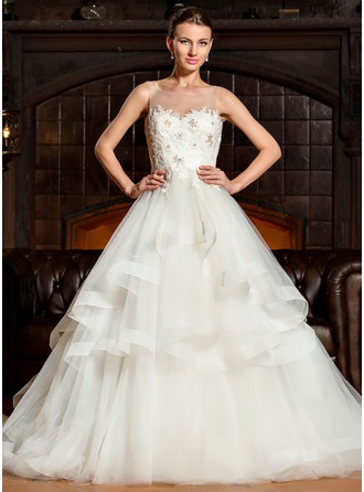 Ball-Gown Scoop Neck Cathedral Train Tulle Lace Wedding Dress