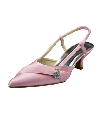 Women's Satin Low Heel Closed Toe Pumps Slingbacks With Rhinestone