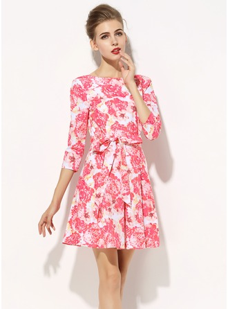 Polyester/Poplin With Print Knee Length Dress