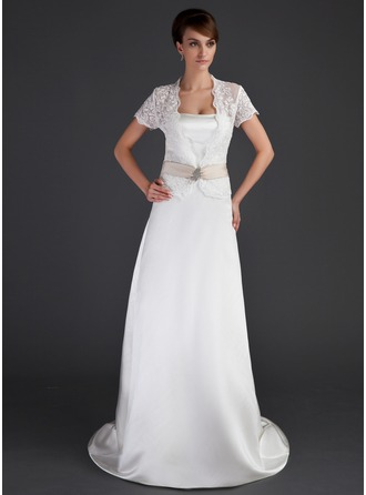 Sheath/Column Sweetheart Court Train Satin Wedding Dress With Bow(s)