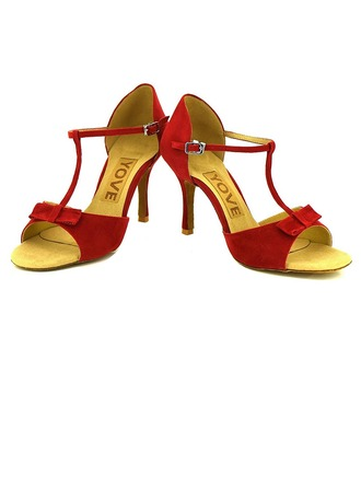 Women's Suede Heels Sandals Latin Salsa Party With Ankle Strap Hollow-out Dance Shoes