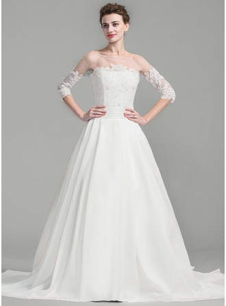 Ball-Gown Scoop Neck Royal Train Satin Wedding Dress With Ruffle Beading Appliques Lace