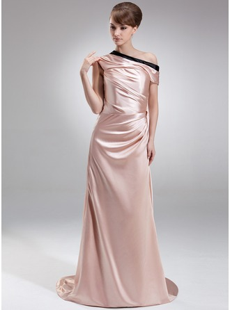 Sheath/Column Off-the-Shoulder Sweep Train Charmeuse Evening Dress With Ruffle Sash