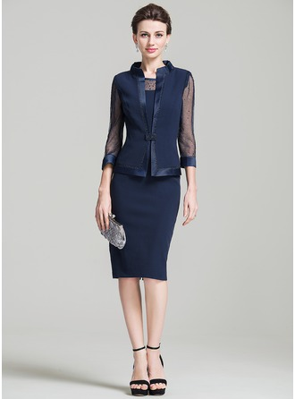 Sheath/Column Scoop Neck Knee-Length Mother of the Bride Dress With Beading