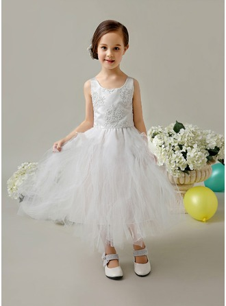 A-Line/Princess Square Neckline Ankle-Length Satin Tulle Flower Girl Dress With Beading Appliques Lace Bow(s)