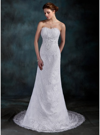 Sheath/Column Sweetheart Court Train Lace Wedding Dress With Ruffle Beading Sequins