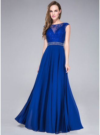 A-Line/Princess Scoop Neck Floor-Length Chiffon Tulle Lace Prom Dress With Beading Sequins
