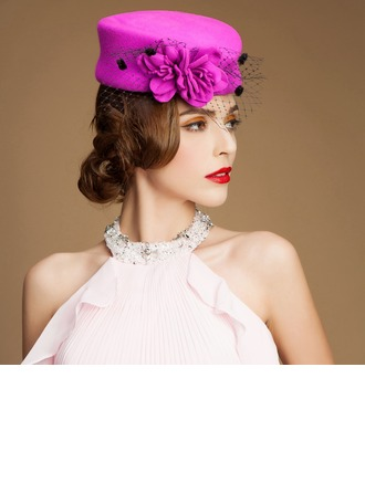 Ladies' Vintage Autumn/Winter Wool With Tulle Fascinators/Bowler/Cloche Hat