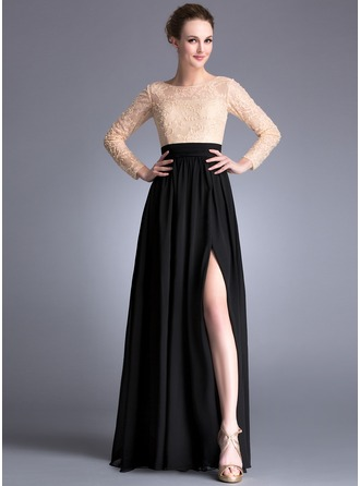 A-Line/Princess Scoop Neck Floor-Length Chiffon Lace Evening Dress With Beading Sequins Split Front