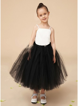 A-Line/Princess Square Neckline Tea-Length Charmeuse Tulle Flower Girl Dress With Lace Crystal Brooch