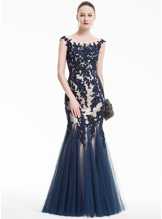 Trumpet/Mermaid Scoop Neck Floor-Length Tulle Evening Dress With Appliques Lace