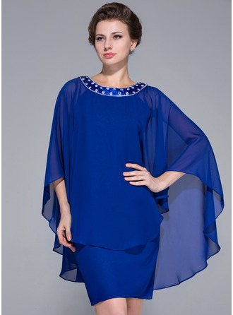 Sheath/Column Scoop Neck Knee-Length Chiffon Charmeuse Mother of the Bride Dress With Beading