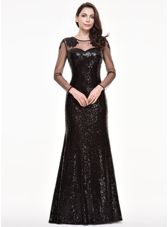 Trumpet/Mermaid Scoop Neck Floor-Length Tulle Sequined Evening Dress With Beading Appliques Lace