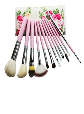 12 PCs Natural Goat Hair Makeup Brush Set With Pouch