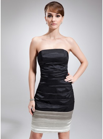 Sheath/Column Strapless Knee-Length Charmeuse Cocktail Dress With Ruffle