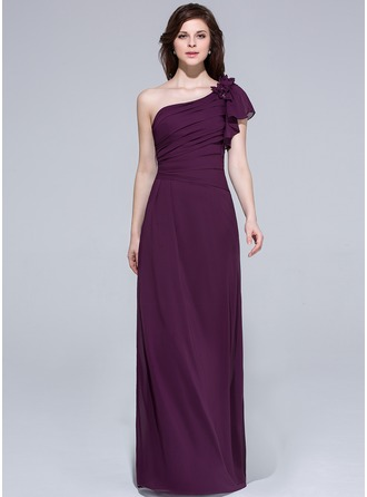 A-Line/Princess One-Shoulder Floor-Length Chiffon Bridesmaid Dress With Beading Flower(s) Cascading Ruffles