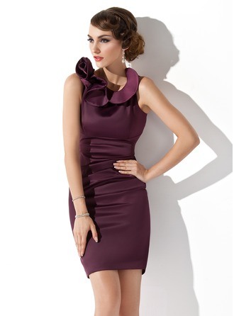 Sheath/Column Scoop Neck Short/Mini Satin Mother of the Bride Dress With Cascading Ruffles