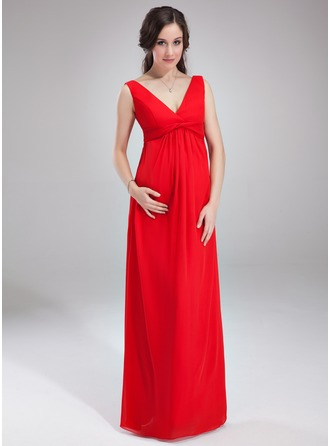 Empire V-neck Floor-Length Chiffon Chiffon Maternity Bridesmaid Dress With Ruffle