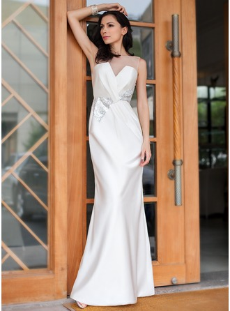 Trumpet/Mermaid Off-the-Shoulder Floor-Length Satin Evening Dress With Ruffle Sequins
