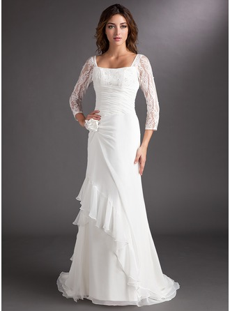 A-Line/Princess Square Neckline Sweep Train Chiffon Lace Holiday Dress With Beading Cascading Ruffles