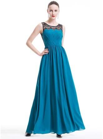 A-Line/Princess Scoop Neck Floor-Length Chiffon Lace Holiday Dress With Ruffle