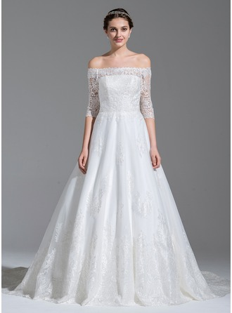 Ball-Gown Off-the-Shoulder Royal Train Tulle Lace Wedding Dress