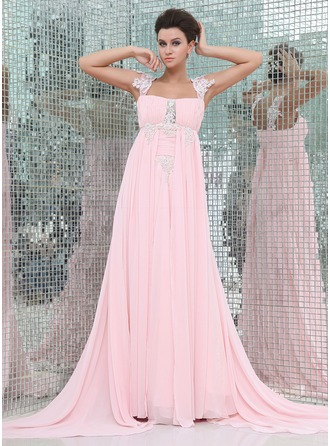 Empire Watteau Train Chiffon Evening Dress With Ruffle Beading Appliques Lace
