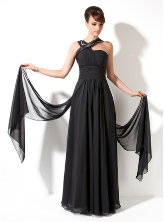 A-Line/Princess V-neck Watteau Train Chiffon Charmeuse Holiday Dress With Ruffle