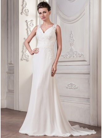 A-Line/Princess V-neck Sweep Train Chiffon Tulle Wedding Dress With Ruffle Appliques Lace