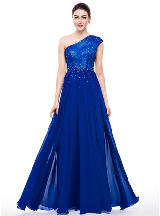 A-Line/Princess One-Shoulder Floor-Length Chiffon Lace Prom Dress With Beading Sequins