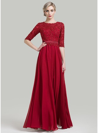 A-Line/Princess Scoop Neck Floor-Length Mother of the Bride Dress With Beading Sequins