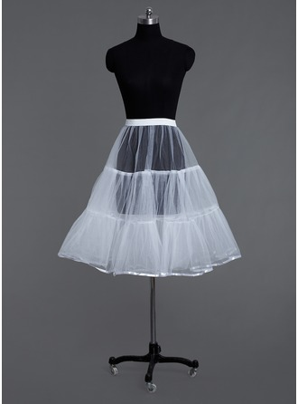 Women Tulle Netting Tea-length 2 Tiers Petticoats