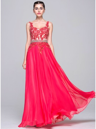 A-Line/Princess Sweetheart Floor-Length Chiffon Evening Dress With Beading Appliques Lace Sequins