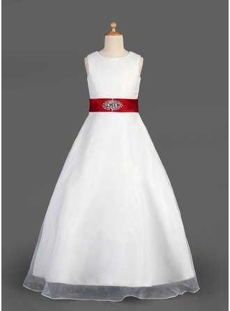 A-Line/Princess Scoop Neck Floor-Length Organza Flower Girl Dress With Sash Beading Bow(s) Cascading Ruffles