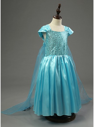 A-Line/Princess Floor-length Flower Girl Dress - Tulle/Polyester Short Sleeves Square Neckline