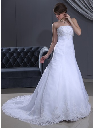 A-Line/Princess Strapless Court Train Satin Organza Wedding Dress With Ruffle Lace Beading