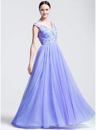 A-Line/Princess Sweetheart Floor-Length Tulle Lace Evening Dress With Beading Sequins
