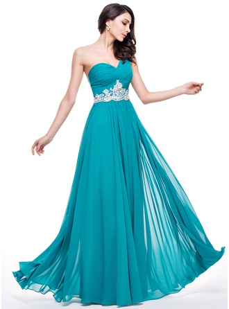 A-Line/Princess One-Shoulder Floor-Length Chiffon Tulle Prom Dress With Ruffle Beading Appliques Lace Sequins