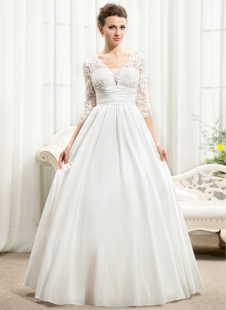 Ball-Gown V-neck Floor-Length Taffeta Lace Wedding Dress With Ruffle Beading Sequins