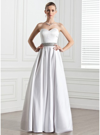 A-Line/Princess Sweetheart Floor-Length Satin Wedding Dress With Beading