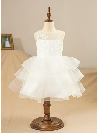 Ball Gown Knee-length Flower Girl Dress - Satin/Tulle/Lace Sleeveless Scoop Neck With Lace/Appliques/V Back